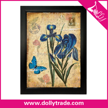 beautiful blue butterfly and orchid flower painting on canvas for home decoration