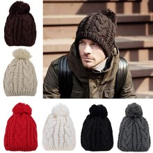Stylish Women's Men's Unisex Knit Winter Warm Ski Skating Soft winter knitted wool hat for Men SV013084