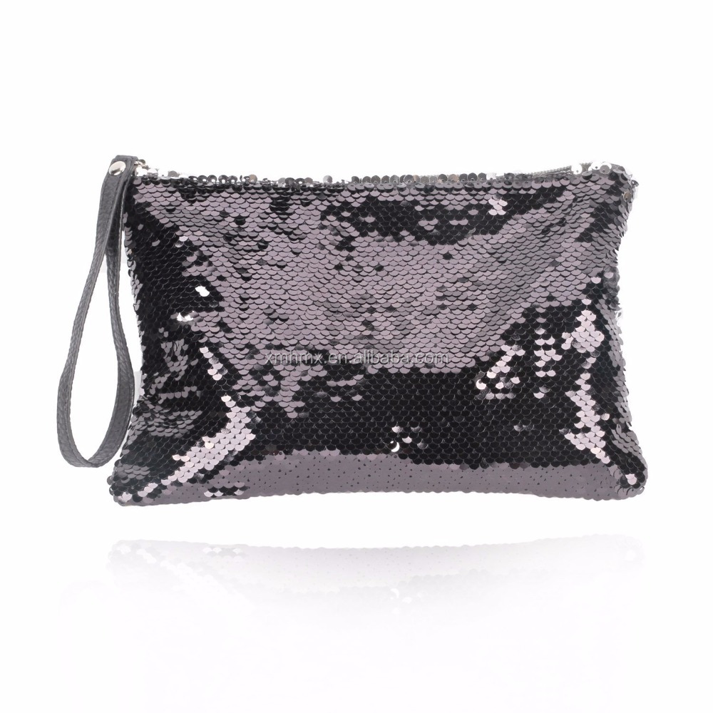 Wholesale Magic Reversible Sequins Bag Fashion Glitter Women Bags PU Leather Party Evening Clutch Bag