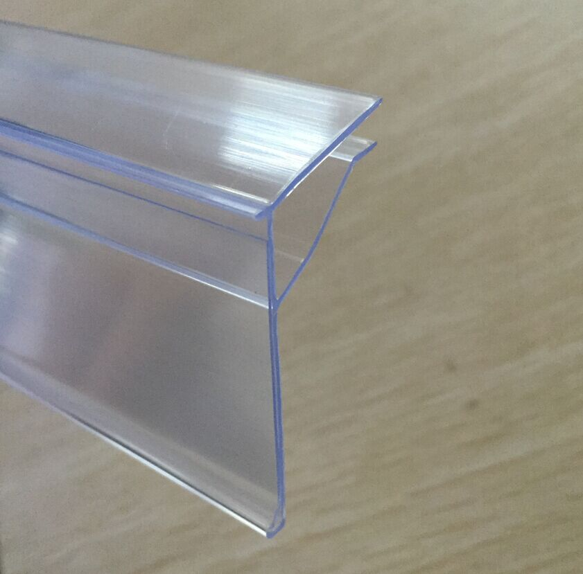 PVC Plastic Data Strip Label Holder for Shelf Channel /Price Label Holder Strip for Glass Shelving