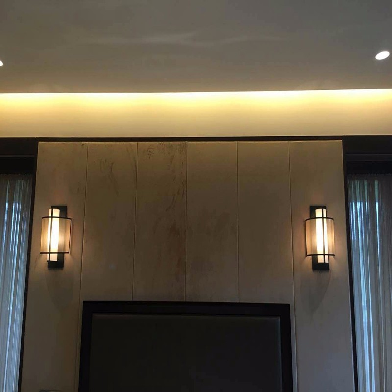High quality hotel iron fabric shade wall lamp for corridor