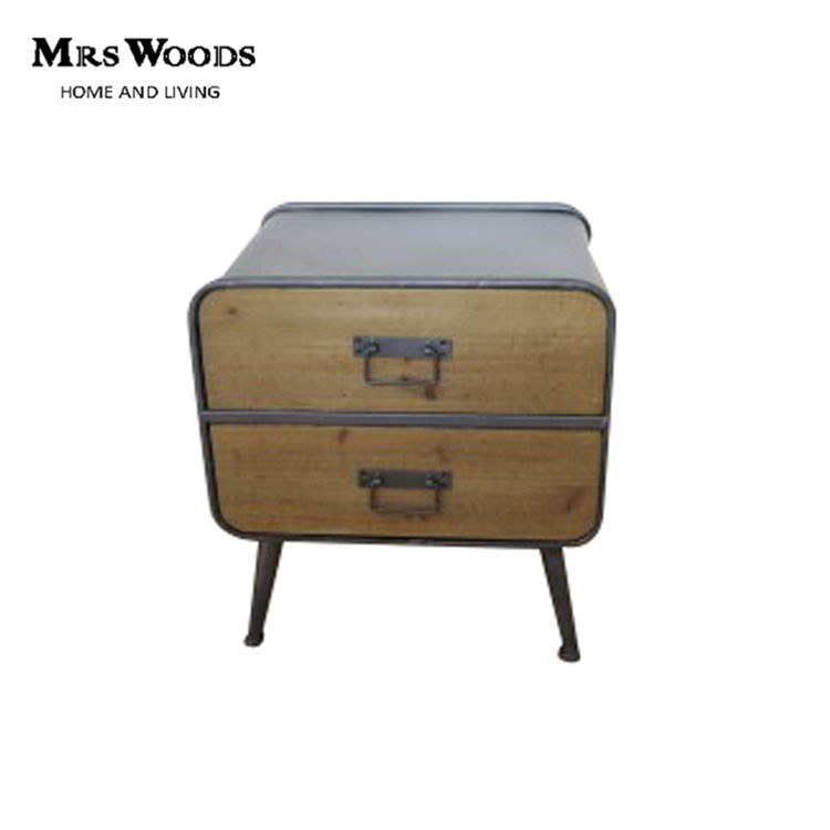 Antique Fir Wood And Metal 2 Drawer Night Stand With An Open Shelf