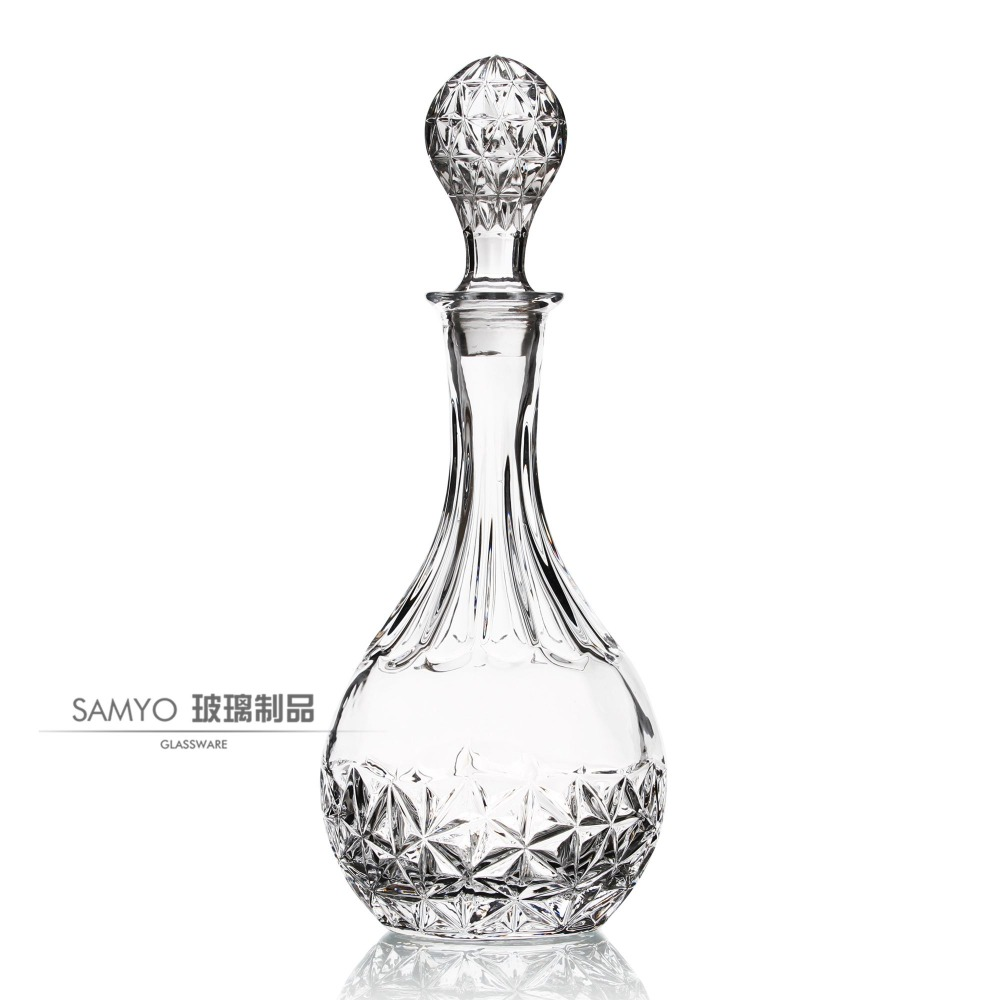 Samyo Glassware Manufacturer Handmade glass empty frosted 750ml empty vodka/grape wine glass bottle
