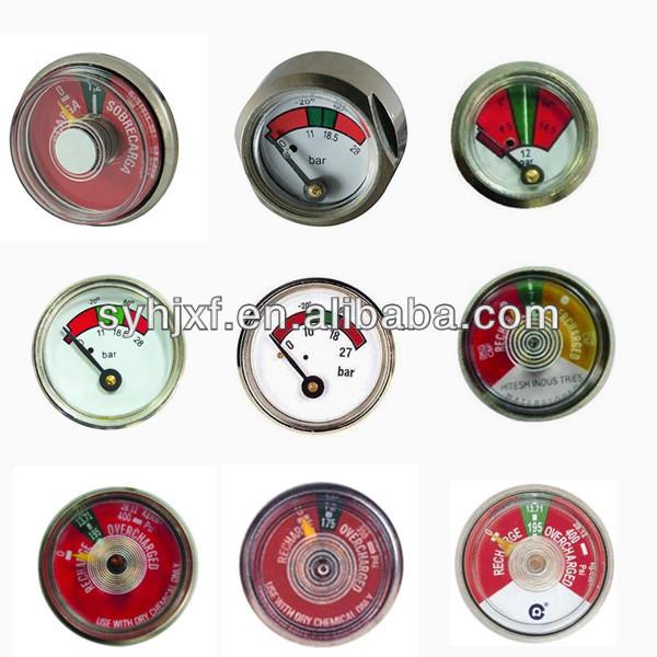 Cylinder pressure gauge for fire extinguisher