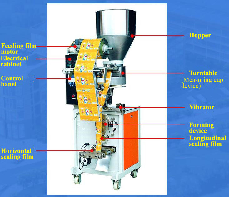 Bucket Chain Semi Automatic Vertical Potato Chips Packaging Machine/Pet Food Packing Machine/Chain Particle Packing Machine