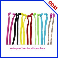 Hot selling flat braided cable Hoodies with earphone compatible for The washing machine wash