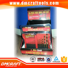DIN338 Straight Shank , fully ground, 15pcs HSS M35/M2 Tin Coating Drill Set in Folding plastic case