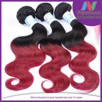 100% unprocessed two tone ombre remy weaving virgin indian hair store