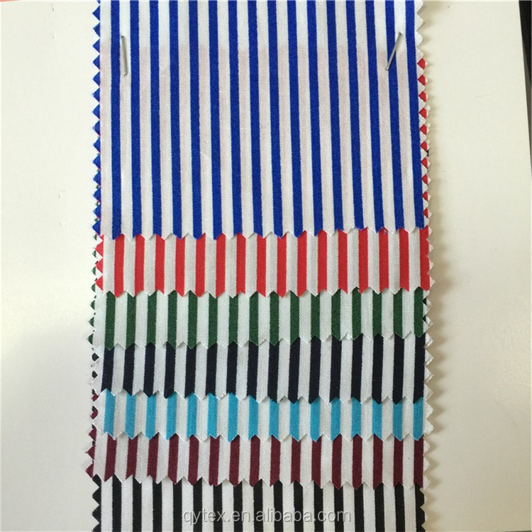 In-stock Small MOQ 100% Cotton Poplin Reactive Strip Printed Woven Fabric for Garment,Shirt,Dress
