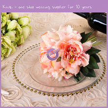 Wholesale Rose Antique Gold Plated Gold Rimmed Beaded Dinner Charger Plates For Wedding