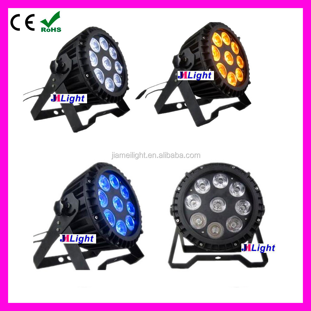 Professional 5in1 RGBWA 9x15w Wireless DMX battrey LED Outdoor Par IP65 Waterproof LED Wash Wall Flat Par Can Uplight