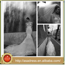 Sexy Sweetheart Mermaid Wedding Dress Neck Long Cathedral/ Royal Train Wedding Dress(WDS-1001)