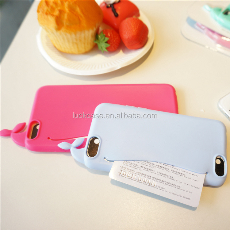 2016 Novelty mobile accessories lovely whale design silicone phone case for ihpone 6/ 6s, fashion silicone phone housing