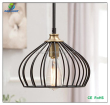 Vintage Industrial Iron Cage Pendant Light Hanging Lamp Art Deco Lighting Black