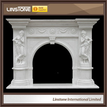 White marble free standing cast iron fireplace