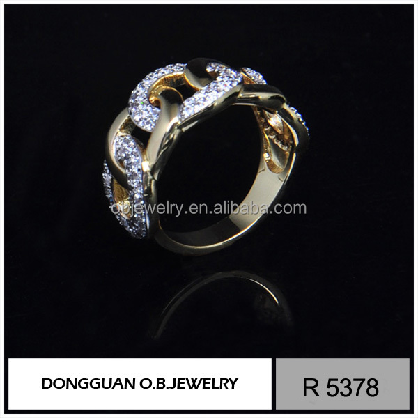 Shiny Cubic Zirconia Antiallergic 18 karat gold plated ring Women Bowknot Fashion Ring