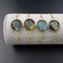 WT-B343 Trendy design natural Labradorite Connector Bracelet, Charm round 24K real gold plated Labradorite Connector Bracelet
