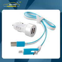 2.1A Dual USB Adapter Car Charger Kit with 2 in 1 Charging Cable for iPhone 5 , Samsung , Android
