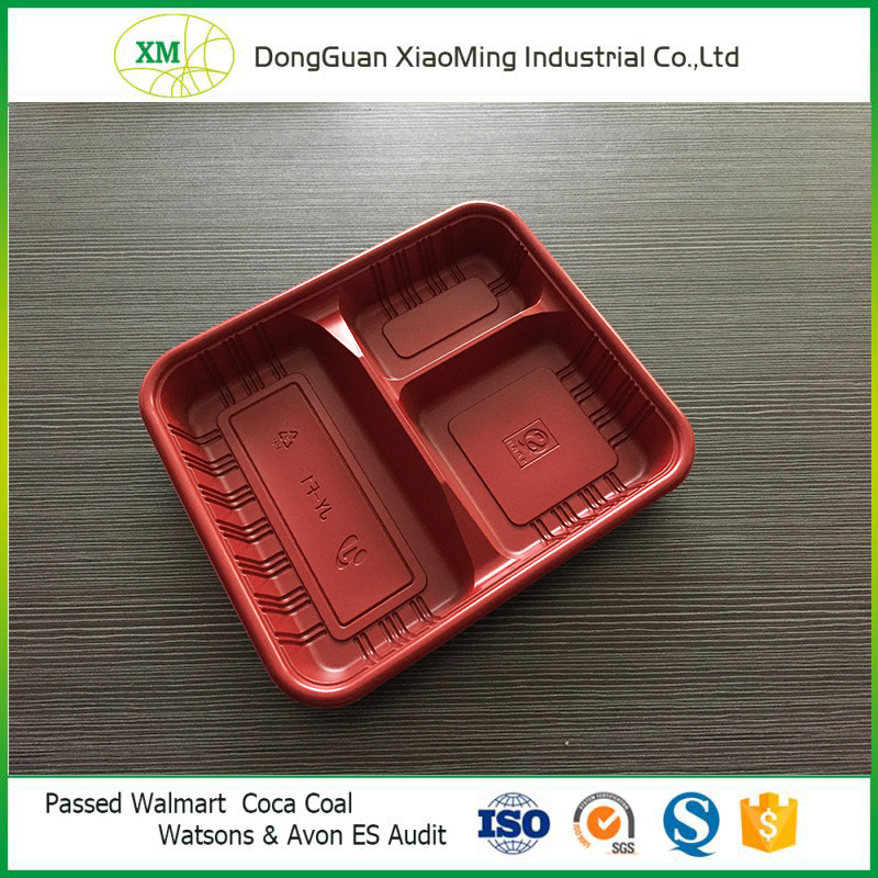 Square PP 3 divided disposable plastic lunch food tray