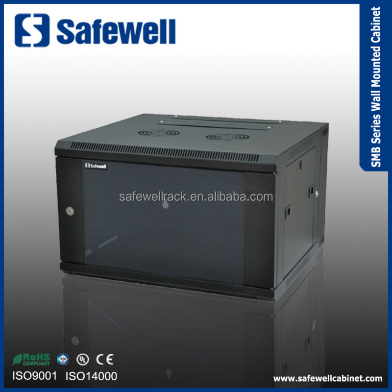 Safewell SMB Series Single Section 600 Width 600 Depth 19 inch Color Black 6U Wall mounted server rack