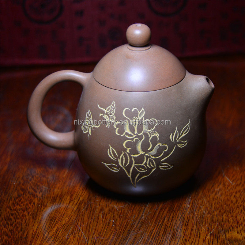 Chinese Dragon Egg Shape Hand Painted Tea Pot For Sale