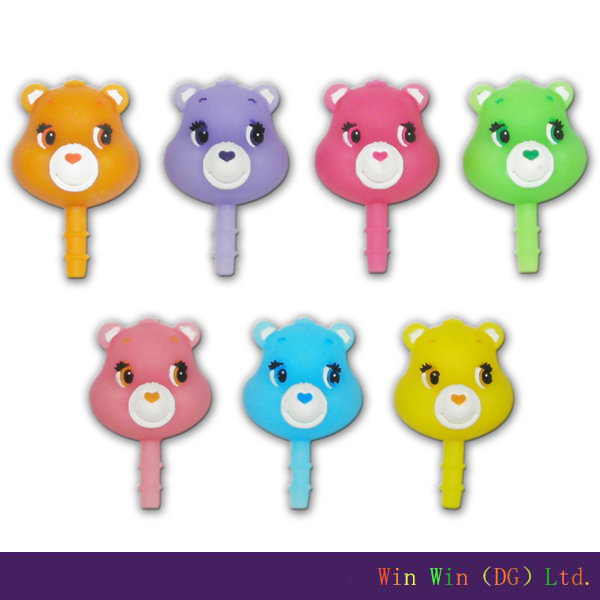 Colorful bear shape anti dust plugs for cell phones