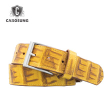 Crocodile Belt Material And Yellow Color Formal Belts For Men