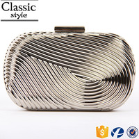 CR sample available wrinkled surface oval shape silver color new fashion best sales indian clutch wallet