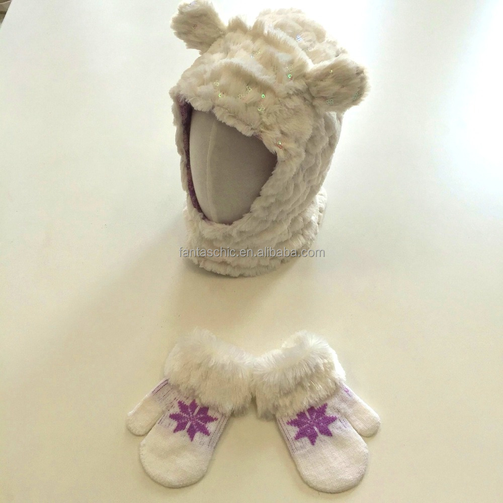 balaclava knit baby hat cute animal ears sequin embroidered fur cuff jacquard mittens