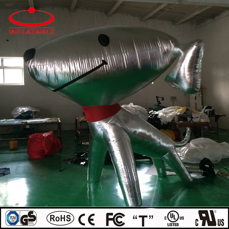 cute inflatable snoopy, inflatable silver mirror fabric dog, infaltable company mascot