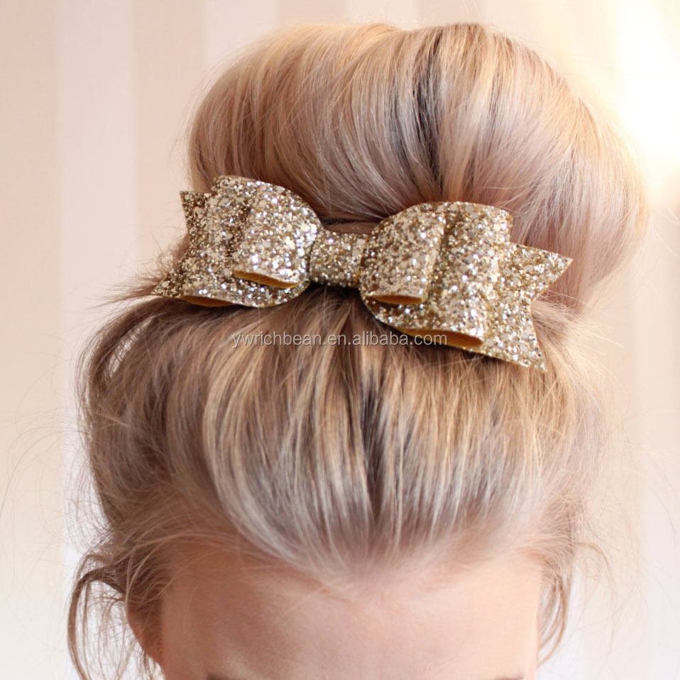 Hot sellingHot sales glitter large hair bows with clips Baby Hair Accessories girl solid sparkly hair bow CB-3616