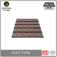 [Factory direct roofing shingles] Flat colorful stone coated metal roof tile