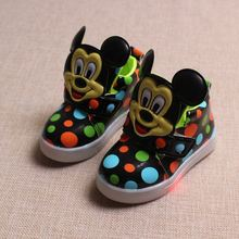 2016 new colorful dot non-slip LED children's shoes