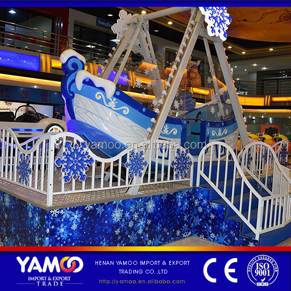 Yamoo 8 Seats Fun Fair Equipment Mini Amusement Ice Snow Pirate Ship Rides Playground Park For Sale