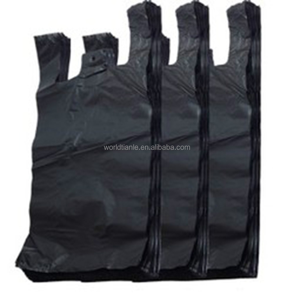 PE custom vest carrier bags black t shirt bag plastic garbage bags
