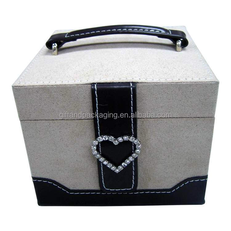 Professional blue leather jewelry case with fake diamond lock