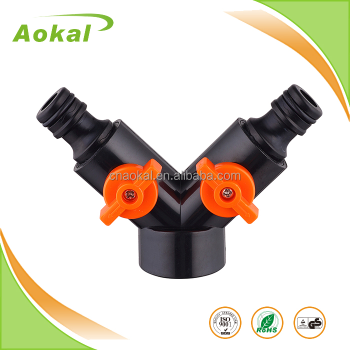 3 way hose connector dual snap-in coupling with shut-off, wholesale flexible garden hose connector