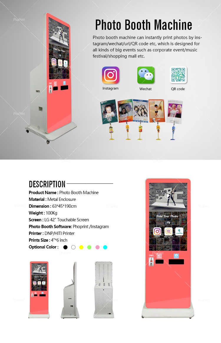 Color booth online - Wifi Screen Advertising Monitor Stand Booth Wechat Phoprint Online Photo Edit And Print Kiosk Equipment