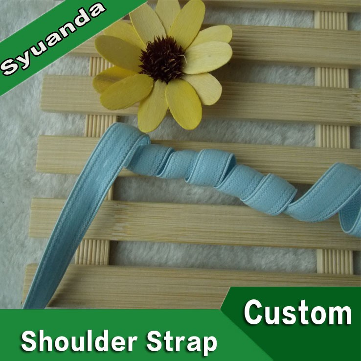 Custom Sky Blue Nylon silicone gripper tape Elastic Shoulder Strap for clothing Bra