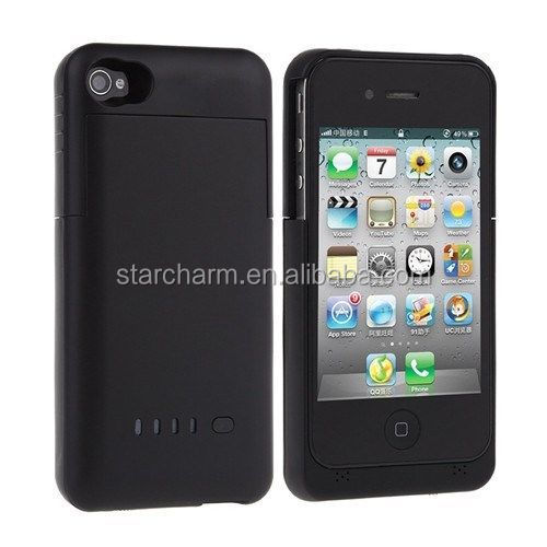 1900mA External Battery case for mobile phone Power Case Built-in Stand for iphone4/4s