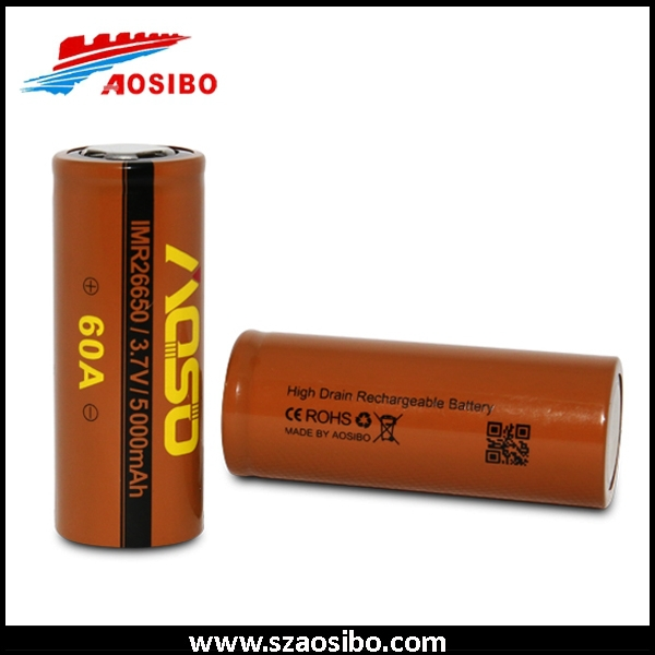 2015 Newest Aosibo 26650 60a 5000mah,battery 3.7v lithium batterycamera battery holder,provari mod,26650 battery