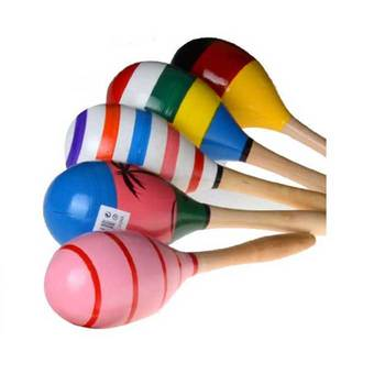 New Colorful Wooden Maracas Wholesale Music Baby Toy