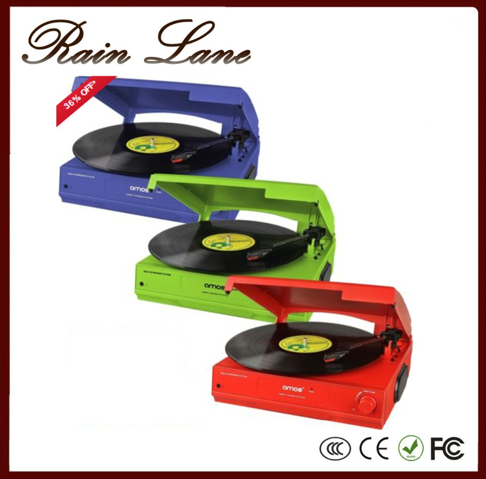 Rain Lane Colorful And Classic 35/45/78 Speed Turntable USB To SD Video Converter LP Vinyl Record Player Vintage