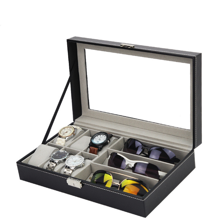 New design 3 sunglasses storage box 6 watch box leather watch and glasses box