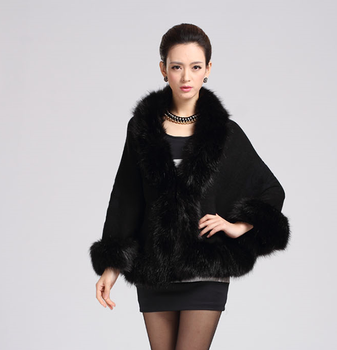 2015 European Style Imitation Fox Women's Cloak Coat Soft Thick Woolen Fur Collar Cashmere Cape
