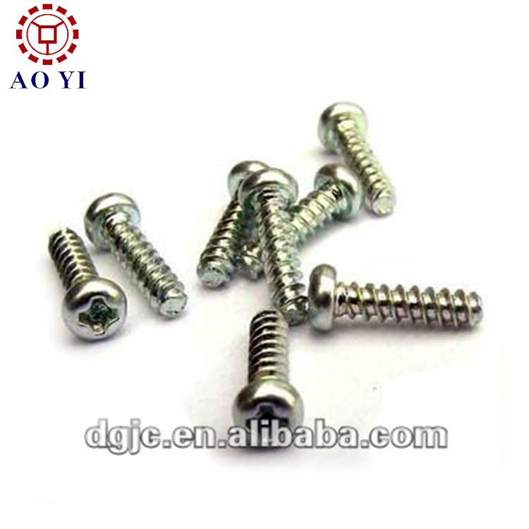 self tapping screw with zinc plated pan head fully threaded flat tail