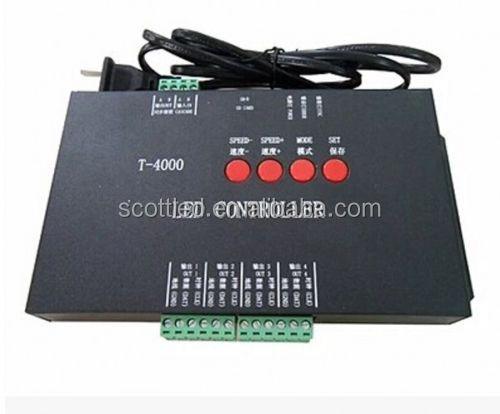T-4000S led pixel controller sd card,T-4000 full color led controller 4ports*1024pixels max 4096pixels 2A adapter free