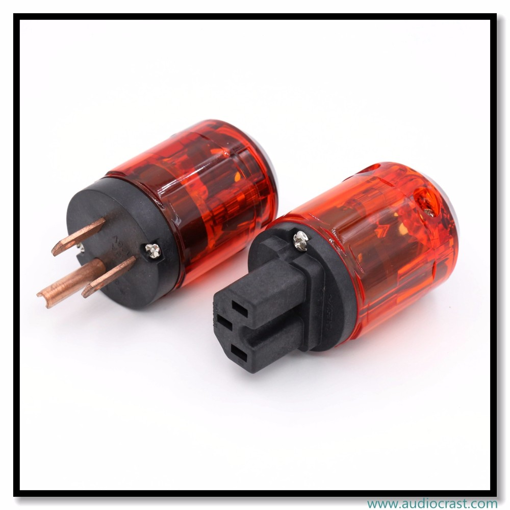 OEM/ODM Pure Red-Copper US Power plug + IEC Connector Audio Power Connector Plug