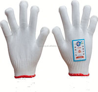 7/10 gauge white knitted cotton gloves manufacturer in china/plain corset 100% cotton