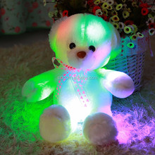 Led lighting colorful teddy bear with musical plush toy christmas led light music box for plush toys